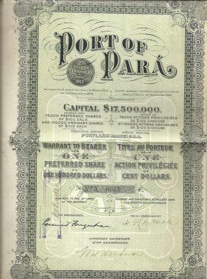Apólice Port Of Para 1917 $ 17,500,000 21 Cupons N.a 6651