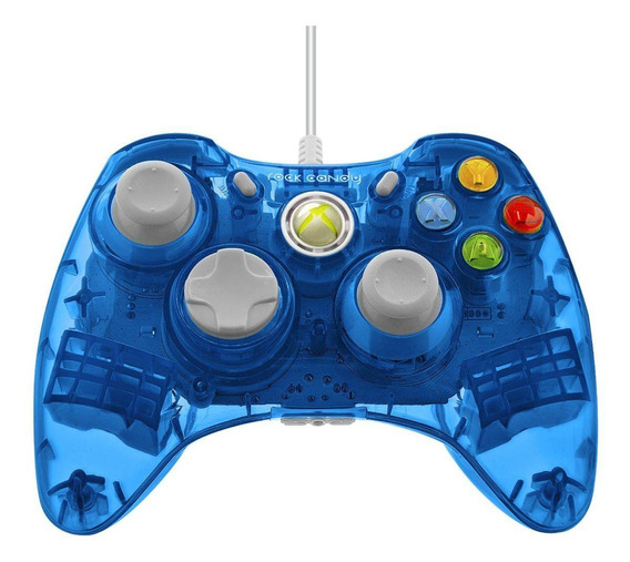 Controle joystick PDP Rock Candy Xbox 360 Wired Controller blueberry boom