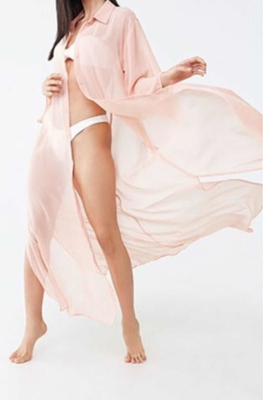 Maxi Camisa Kimono Túnica Vestido Gasa Forever 21 V.2020