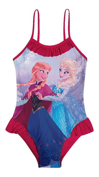 Maiô Infantil Disney Frozen Anna E Elsa Cereja Babadinhos