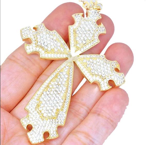4.0ct Cadena Y Dije Cross Cruz Diamante Laboratorio Oro 14k