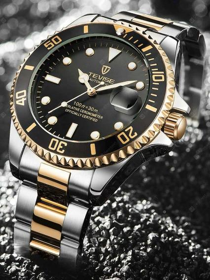 Relógio Quartzo Masculino Tevise Estilo Rolex Submariner