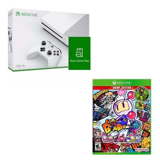 Console Xbox One S 1tb + Game Pass + Super Bomberman R