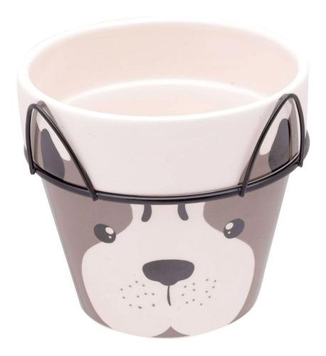 Imagem 1 de 7 de Vaso Cerâmica Decorativo Dog Face Com Suporte Barato  Urban