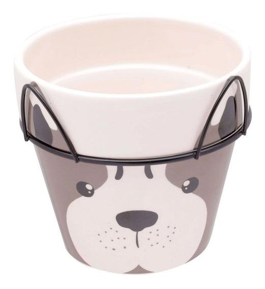 Vaso Cerâmica Decorativo Dog Face Com Suporte Barato Urban