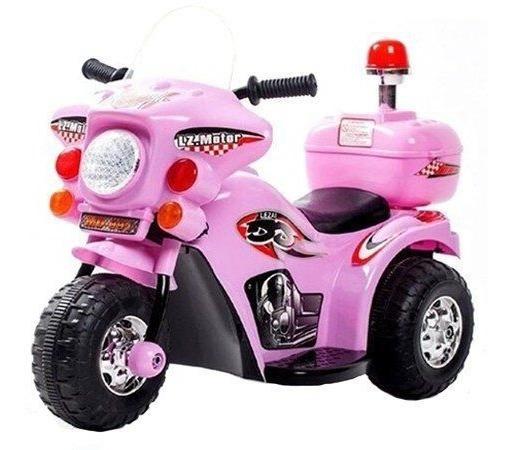 Mini Moto Elétrica Triciclo Infantil Bateria 6v Polícia Rosa