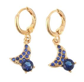 Brincos Feminino Safira Azul Ouro14kplated Mulher Noite 42 J