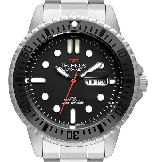 Relógio Technos Automático Calendário Aço Japones 8205oj/1p
