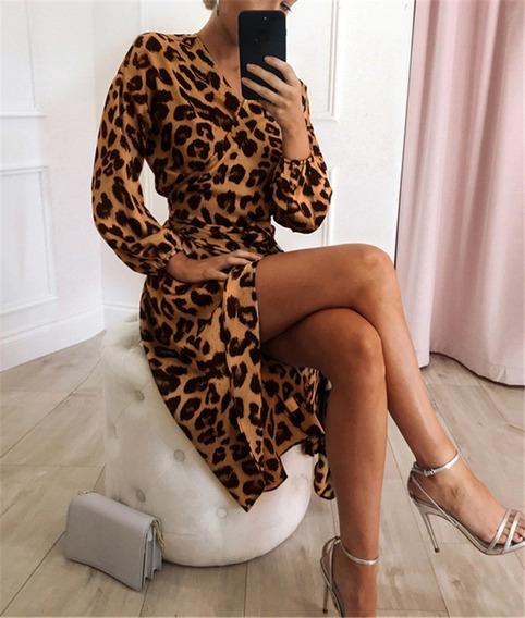 Vestido Feminino Leopardo Sexy Fenda Evangelica Longo Festa