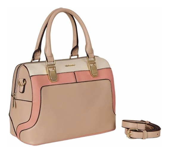 Bolsa Bowling Bag Para Mujer Rosa/crema
