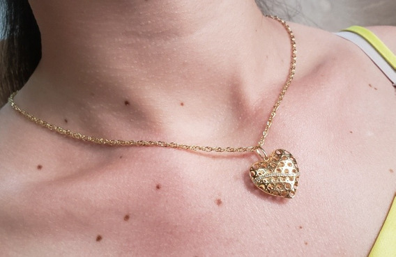 Corrente Ouro 18k 45cm Com Pingente Coração 14 Diamantes