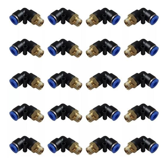 Kit Conector União Cotovelo Macho 8mm X 1/4 C/ 50 Peças