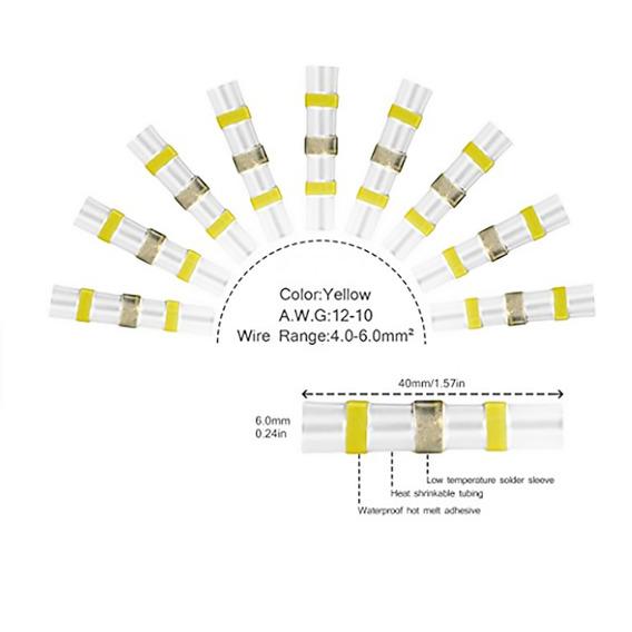 Conectores De Plugue De Solda Amarelo-amarelo (25 Peças)