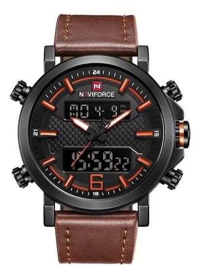 Relógio Naviforce Esportivo Militar Pulseira De Couro