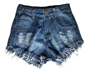 Shorts Jeans Feminino Manchado Cós Alto Hot Pants St013
