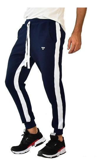 Calça Moletom Jogger Brohood Listra Azul