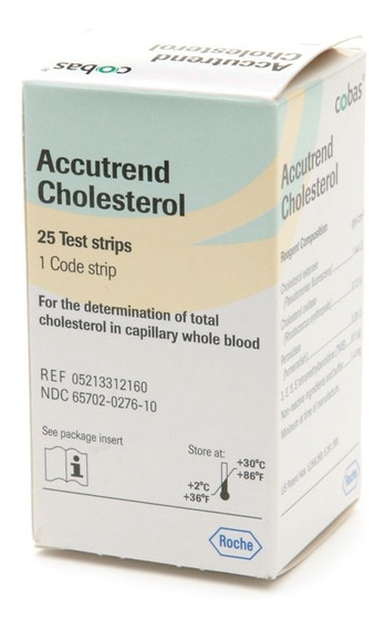 Tiras Reactivas Para Determinar Colesterol En Sangre C/25 Pz