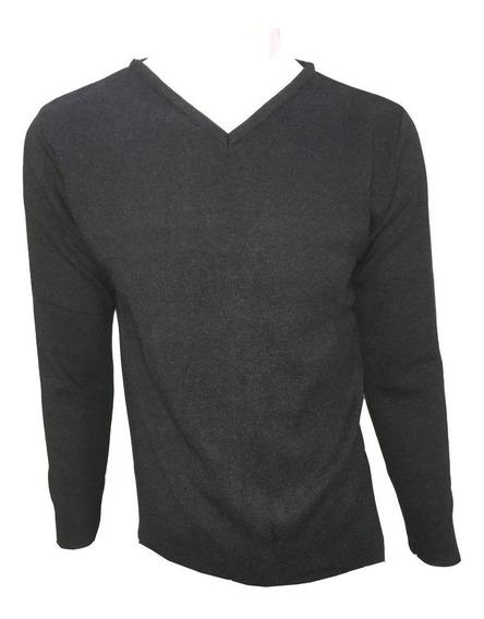 Suéter Gris Oxford Oscuro Cuello V Hombre