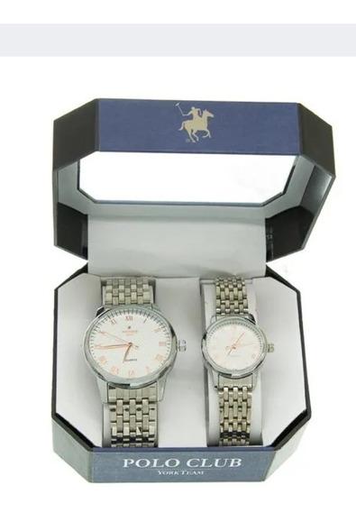 Set De Reloj Plateado Marca York Polo Club