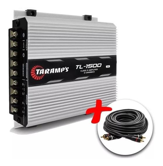 Amplificador Taramps Tl-1500 3 Canais + Cabo Rca 5 Mts Kit