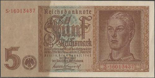 Alemania 5 Reichsmark 1 Ago 1942 P186b