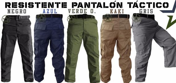 Pantalón Gabardina Bolsas De Cargo Kaki Azul Negro Gris Verde Policia
