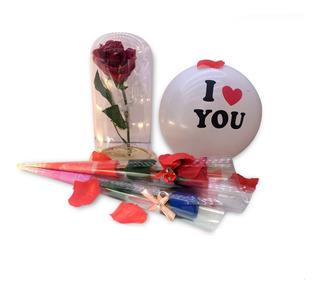 Paquete De Rosa Eterna Con Luz En Color Rojo Envio Gratis.