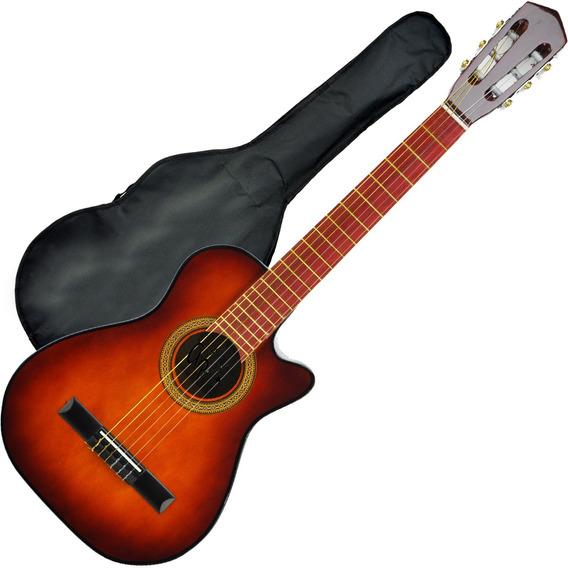 Guitarra Criolla Corte Mediana Electroacustica + Funda