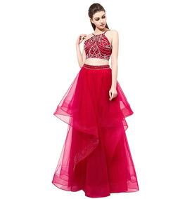 Vestido Graduació Crop Top Falda Rojo Azul Talla 6 8 Ep 300