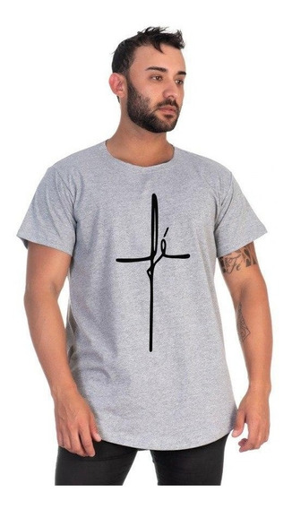 Camiseta Plus Size Estampa Fé Religiao Longline Em Promoção