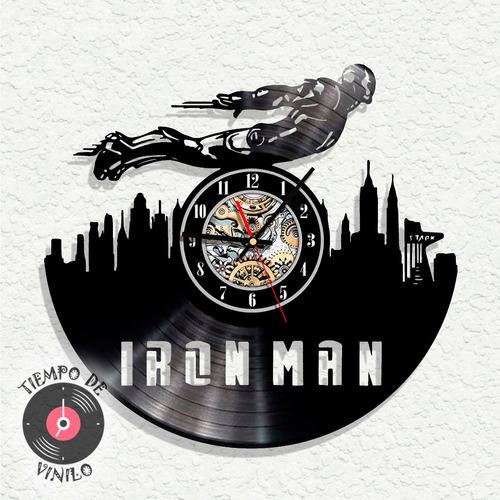 Reloj De Pared Elaborado En Disco De Lp Ref. Iron Man