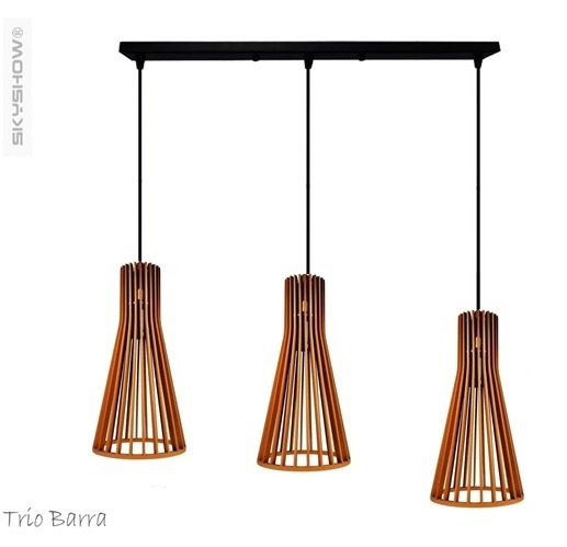 Pendente Samira Trio + 3 Lamp Barra Madeira Retro Skyshow®