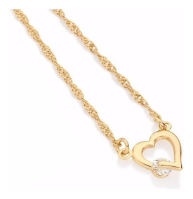 Semi Jóia Rommanel Coração Feminino Colar Cordão 50cm 531182