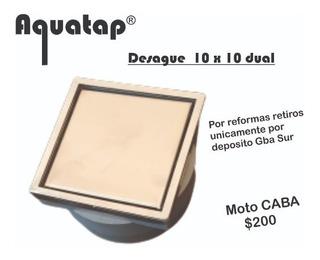 Desague 10x10 Con Vista Dual Porcelanato/ac. Inox. Acuatap