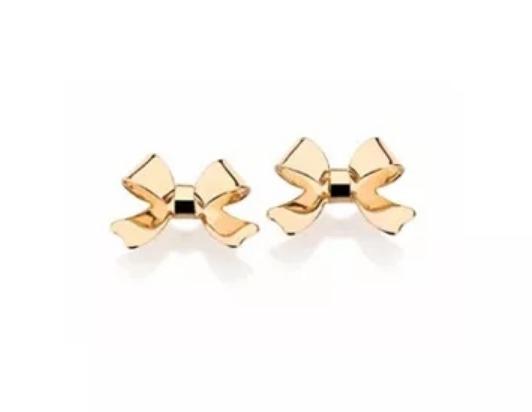 Brinco Laço 1,0 Cm Folheado Ouro Rommanel 524715 Pequeno