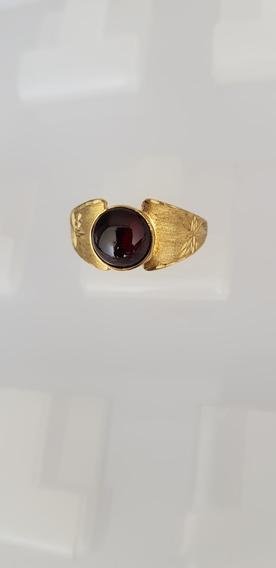 Anel Ouro 750 Quilates Pedra Preciosa Granada Rodolita Linda