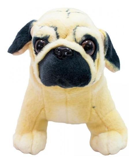 Cachorro De Pelúcia Pug Pequeno Realista Realístico 28cm