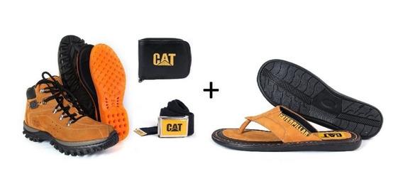 Kit Bota Caterpillar + Chinelo Em Couro + Cinto + Carteira