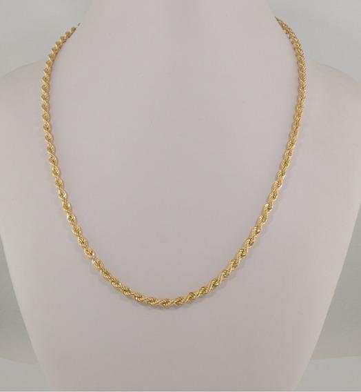 Colar Feminino Corrente Corda 60 Cm Ouro 18k 750 Cordão