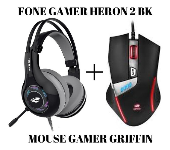 Combo Fone Gamer Heron 2+mouse Griffin Mg-500bk Macro