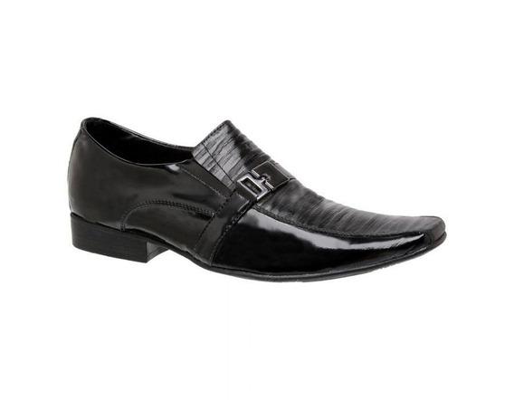 Sapato Social Masculino Couro Verniz E Plissado 760011 - Frete Grátis