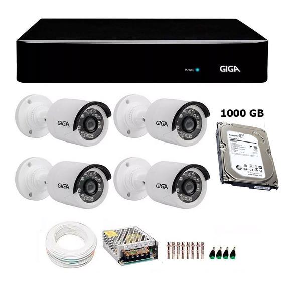 Kit Cftv 4 Câmera Giga Full Hd 1080p Dvr Giga 4 Canais +hd