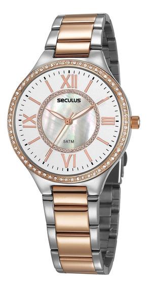 Relógio De Pulso Seculus Feminino 20750lpsvgs1 -prata E Rosé