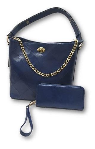 Imagen 1 de 5 de Bolsa De Dama Cadena Con Cartera Azul Nw3497