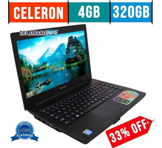 Notebook Positivo Celeron 4gb Ram 320gb Hd Seminovo (11497)
