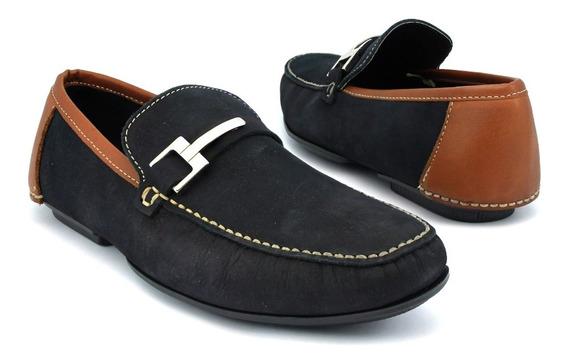 Zapato Mocasin Con Hebilla Lateral Para Caballero Nobuck