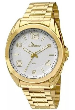 Relógio Condor Masculino Com Pulseira Dourada 50 Metros