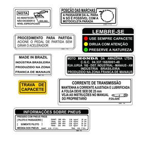 Honda Dream - Adesivo De Advertência - Dream - F. Grátis