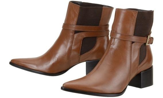 Bota Feminina Cano Curto Botinha Ankle Boot Couro Legítimo Qualidade Superior Durabilidade Botinha Baixinha - 84004