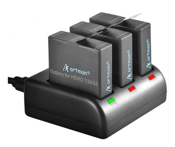Kit Artman 3 Baterias P Gopro Hero 7 Black + Carregador Usb